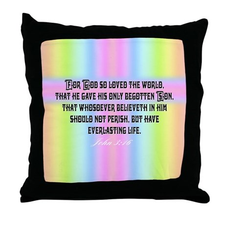 John 3:16 Rainbow Throw Pillow