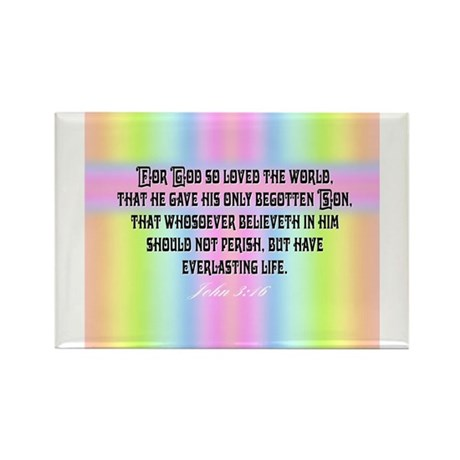 John 3:16 Rainbow Rectangle Magnet
