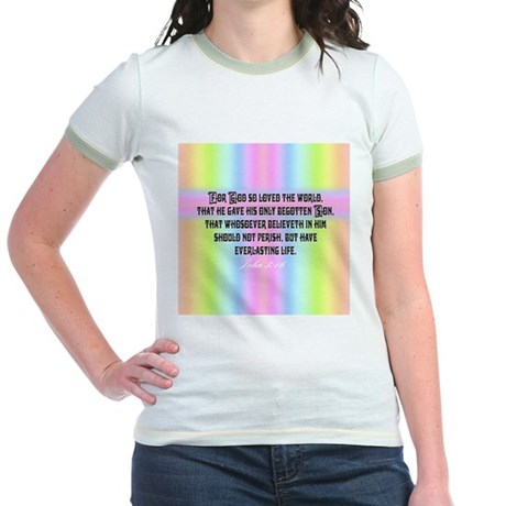 John 3:16 Rainbow Jr. Ringer T-Shirt