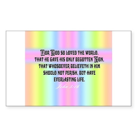 John 3:16 Rainbow Rectangle Sticker