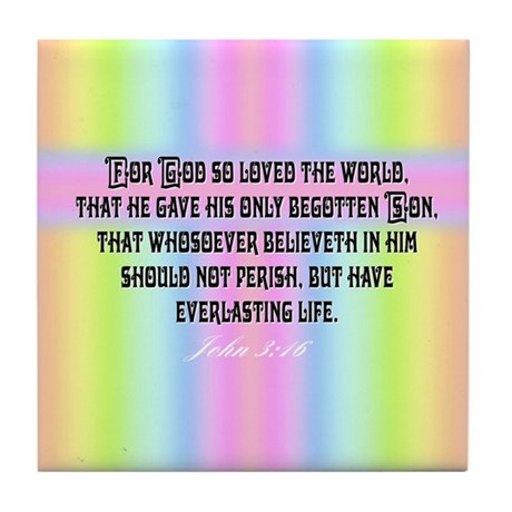 John 3:16 Rainbow Tile Coaster