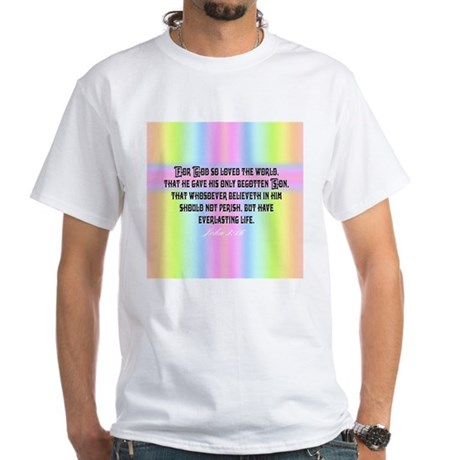 John 3:16 Rainbow White T-Shirt