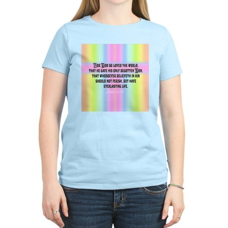 John 3:16 Rainbow Women's Pink T-Shirt