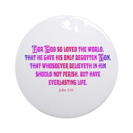 John 3:16 Rainbow II Ornament (Round)
