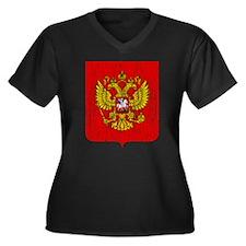 Russia Coat Of Arms Women's Plus Size V-Neck Dark
