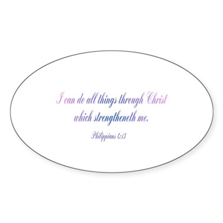 Philippians 4:13 Oval Sticker