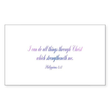 Philippians 4:13 Rectangle Sticker