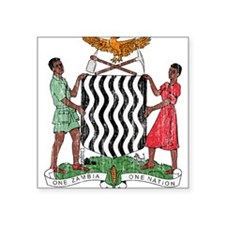 "Zambia Coat Of Arms Square Sticker 3"" x 3"""