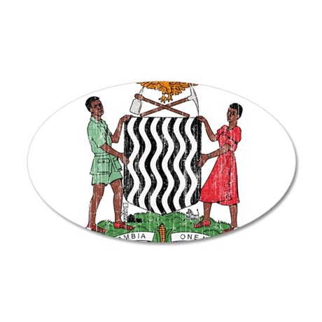 Zambia Coat Of Arms 20x12 Oval Wall Decal