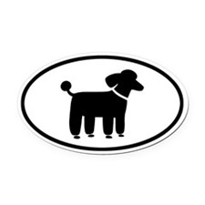 Black Poodle Oval Car Magnet