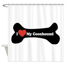 I Love My Coonhound - Dog Bone Shower Curtain