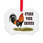 Stand Your Ground Rooster Picture Ornament