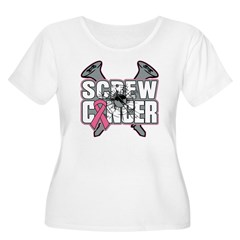 Screw Breast Cancer Women's Plus Size Scoop Neck T