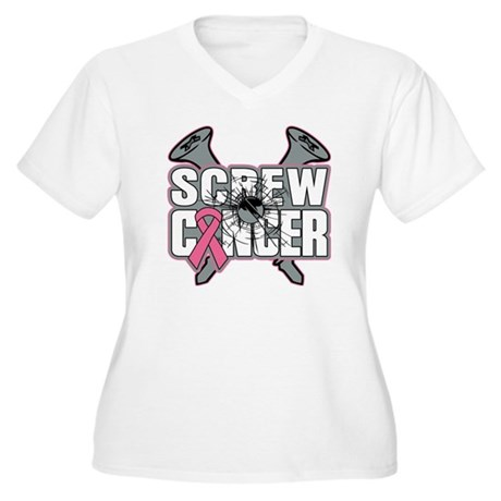 Screw Breast Cancer Women's Plus Size V-Neck T-Shi