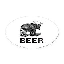 Beer Oval Car Magnet