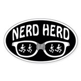 Nerd Herd Glasses Sticker (Oval) White on Black