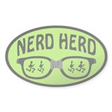 Nerd Herd Glasses Sticker (Oval) Black on Green