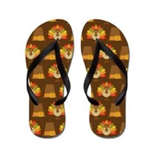 Thanksgiving Turkey and Pilgrim Flip Flops