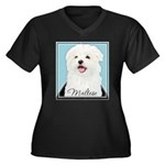 Cute Maltese Women's Plus Size V-Neck Dark T-Shirt