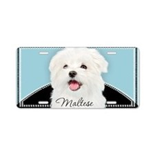 Cute Maltese Aluminum License Plate