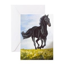 Black Stallions Morning Run Greeting Card