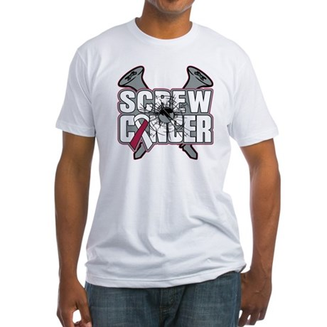Screw Head Neck Cancer Fitted T-Shirt