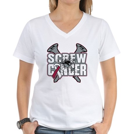 Screw Head Neck Cancer Women's V-Neck T-Shirt