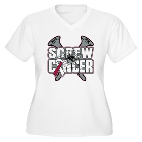 Screw Head Neck Cancer Women's Plus Size V-Neck T-