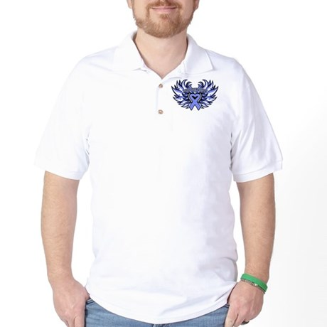 Stomach Cancer Heart Wings Golf Shirt