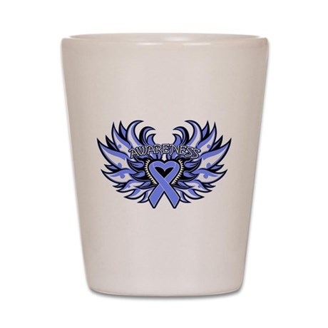 Stomach Cancer Heart Wings Shot Glass