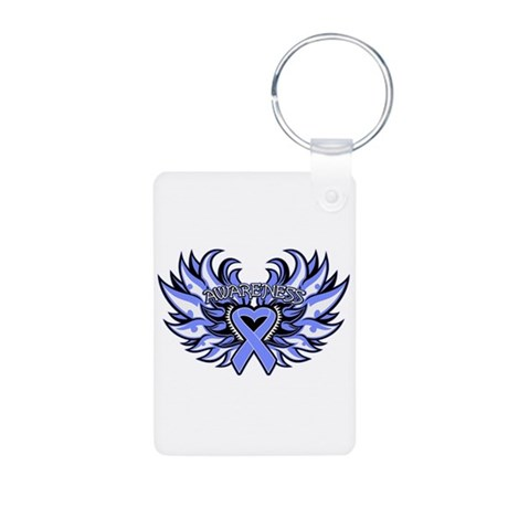 Stomach Cancer Heart Wings Aluminum Photo Keychain