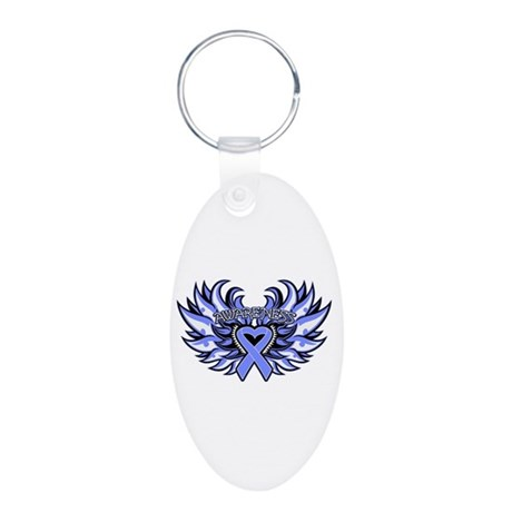 Stomach Cancer Heart Wings Aluminum Oval Keychain