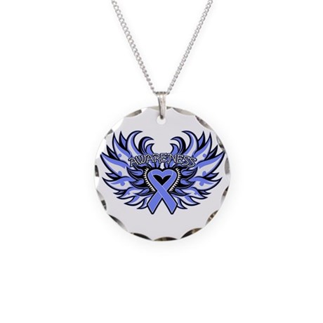 Stomach Cancer Heart Wings Necklace Circle Charm