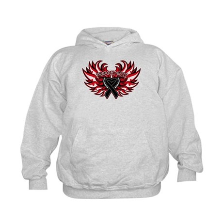 Skin Cancer Heart Wings Kids Hoodie