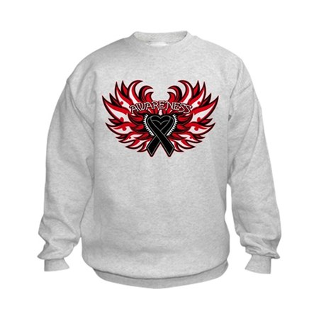 Skin Cancer Heart Wings Kids Sweatshirt
