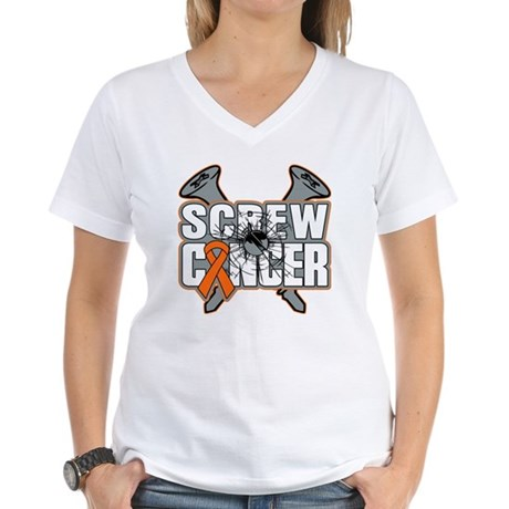 Screw Leukemia Cancer Women's V-Neck T-Shirt