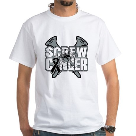Screw Melanoma Cancer White T-Shirt
