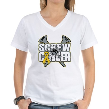 Screw Neuroblastoma Cancer Women's V-Neck T-Shirt