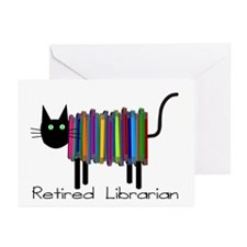 Retired Librarian Book Cat.PNG Greeting Cards (Pk