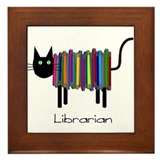 Librarian Book Cat.PNG Framed Tile