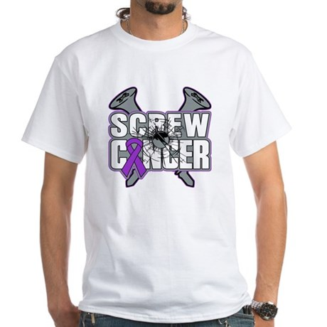 Screw Pancreatic Cancer White T-Shirt