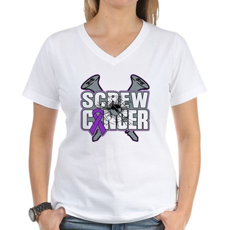 Screw Pancreatic Cancer Women's V-Neck T-Shirt