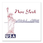 "New York Square Car Magnet 3"" x 3"""
