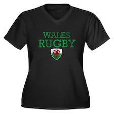 Wales Rugby designs Women's Plus Size V-Neck Dark
