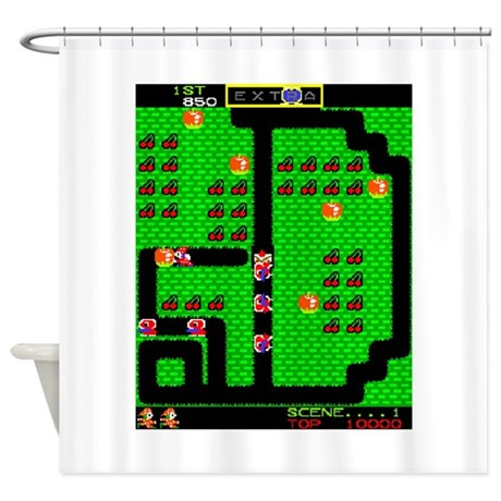 Mr do game screen shower curtain by 80svideogames for 1980s bathroom decor