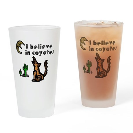 Believe in Coyotes Drinking Glass