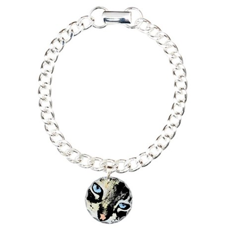 Ink Cat Charm Bracelet, One Charm