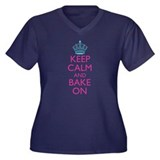 Keep Calm and Bake On Women's Plus Size V-Neck Dar