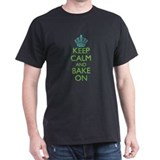 Keep Calm Bake On Blue Green T-Shirt