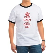 Keep Calm and Grill On Red Logo T